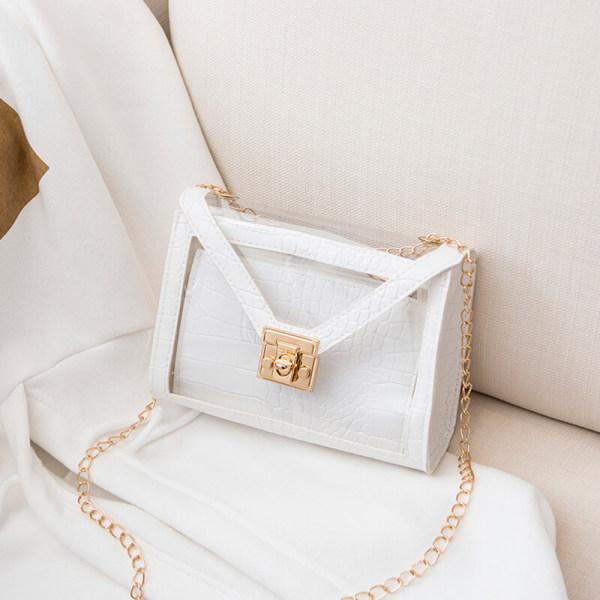 White Fashion Casual Patchwork Chain Strap Crossbody Bag
