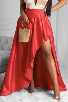 Red Casual Solid Slit Loose Mid Waist Type A Bottoms