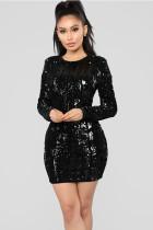 Black Polyester Celebrities Cap Sleeve Long Sleeves O neck Step Skirt skirt Solid Long Sleeve Dresses