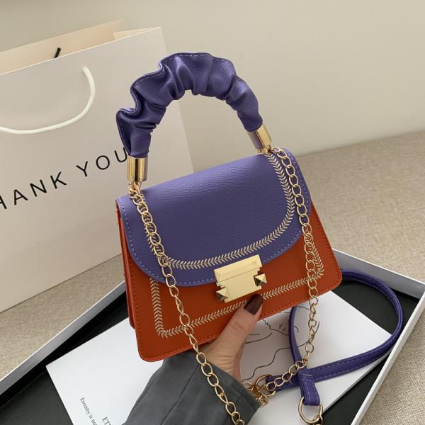 Orange Fashion Casual Patchwork Crossbody Bag