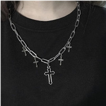 Silver Fashion Hollow Cross Necklace
