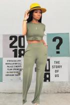 Army Green Polyester Casual Fashion Bandage crop top Solid Straight Two-piece Pants Set