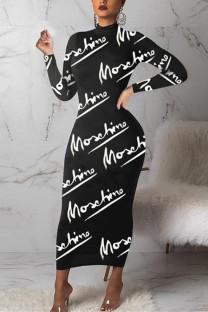 Black Fashion Casual Letter Print Basic Turtleneck Printed Dress