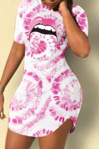 Pink Casual Print Split Joint O Neck Pencil Skirt Dresses
