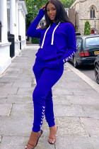 Blue Polyester Casual Solid Two Piece Suits Straight Long Sleeve Two-piece Pants Set
