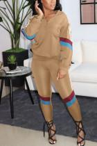 Khaki Casual Patchwork Zipper Collar Long Sleeve Two Pieces
