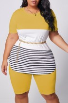 Yellow Polyester Fashion Casual adult Ma'am O Neck Striped Patchwork Two Piece Suits Stitching Plus Size