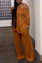 Orange Fashion Casual Solid Basic Oblique Collar Two Pieces