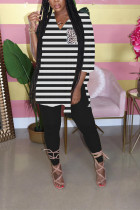 Black Milk Silk Casual Striped Print pencil Long Sleeve Two Pieces