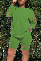 Green Street Cute Solid Split Joint O Neck Long Sleeve Two Pieces