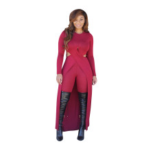 Wine Red Elastic Fly Mid Hooded Out Split Skinny shorts Two-piece suit