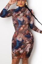 multicolor British Style Print Mandarin Collar Long Sleeve Knee Length Long Sleeve Dress Dresses