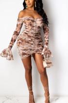 Khaki Street Polyester Print Bateau Neck Short Sleeve Sheath Dresses