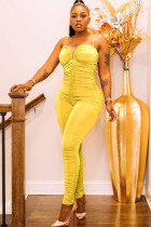 Yellow Fashion Sexy Solid Draped Polyester Sleeveless V Neck Jumpsuits