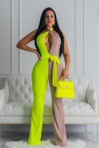 Fluorescent green Casual Patchwork bandage Polyester Sleeveless V Neck Jumpsuits