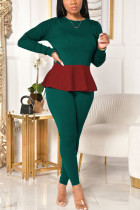 Dark green Fashion Celebrities Adult Polyester Patchwork Solid Split Joint Flounce O Neck Long Sleeve Regular Sleeve Regular Two Pieces
