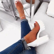 White Sexy Split Joint Round Out Door Shoes