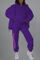 purple Sportswear Solid Letter Hooded Collar Long Sleeve Two Pieces