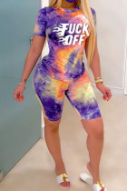 purple Polyester Fashion Casual Letter Print Tie Dye Two Piece Suits pencil Short Sleeve Two Pieces