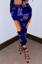 Deep Blue Fashion Casual Print Basic Regular Trousers