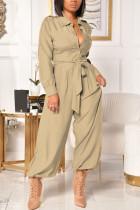 Yellow Fashion Casual Solid Basic Turndown Collar Regular Jumpsuits