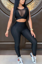 Black Polyester Fashion Active adult Ma'am Patchwork Solid Two Piece Suits pencil Sleeveless Two Pieces