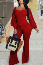 Red Fashion Casual Solid Basic O Neck Long Sleeve Two Pieces
