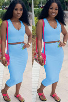 Blue Polyester Sexy Fashion Patchwork Solid A-line skirt Two-Piece Dress