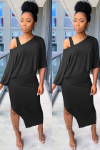 Black Polyester Europe and America Two Piece Suits Patchwork Solid pencil Sleeveless Two-Piece Dress