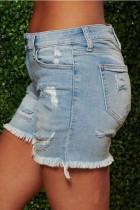 Light Blue Grey Light Blue Dark Blue Denim Button Fly Mid Patchwork Solid washing Old Straight shorts Bottoms