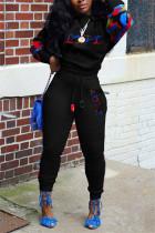 Black Fashion Casual Letter Print Split Joint O Neck Plus Size Set