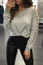 Grey Cotton blend O Neck Long Sleeve Solid Hole backless Tops