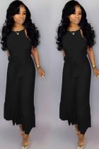 Black Sexy zipper Draped Solid flax Sleeveless Slip Jumpsuits