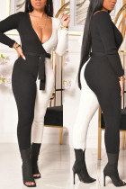 Black And White Casual Solid Split Joint Without Belt V Neck Regular Jumpsuits