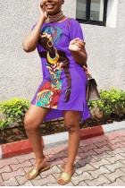 purple Fashion adult Street O Neck Patchwork Print Character Stitching Plus Size