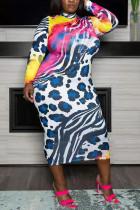 Blue Sexy Print Leopard O Neck Pencil Skirt Plus Size