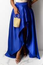 Royal Blue Casual Solid Slit Loose Mid Waist Type A Bottoms