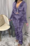 Grey Fashion Sexy Adult Pleuche Solid Fold Hooded Collar Long Sleeve Regular Sleeve Regular Two Pieces