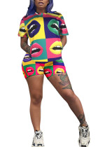 Yellow Polyester Fashion Celebrities Print Two Piece Suits pencil Short Sleeve Two Pieces