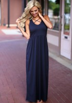 Royal blue Brief Cute Asymmetrical Sleeveless Loose Long Club Dresses