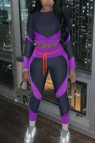 purple Casual Sportswear Polyester Fiber Patchwork Solid Split Joint Frenulum O Neck Long Sleeve Regular Sleeve Short Two Pieces
