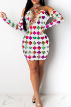 White Sexy Off The Shoulder Long Sleeves Tie The collar Hip skirt Knee-Length Print bandage backless Dresses