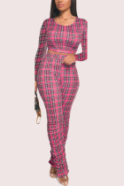 rose red Polyester Fashion Casual adult Ma'am Plaid Patchwork Two Piece Suits pencil Long Sleeve Two Pieces