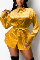 Gold Fashion Casual Print Basic Turndown Collar Tops