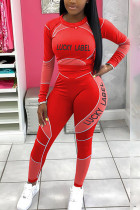 Red Fashion Casual Adult Polyester Print Split Joint Letter O Neck Long Sleeve Regular Sleeve Short Two Pieces