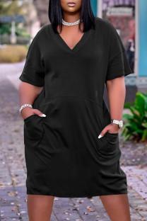 Black Fashion Casual Solid Basic V Neck Short Sleeve Dress
