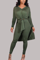 Green Fashion Casual Milk Fiber Patchwork Solid Slit V Neck Long Sleeve Cap Sleeve Long Two Pieces