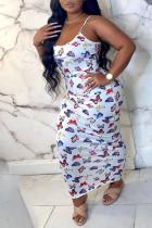 White Sweet Spaghetti Strap Sleeveless Slip Step Skirt Ankle-Length Print Animal Dresses