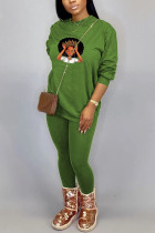 Green Sportswear Print Split Joint O Neck Long Sleeve Two Pieces