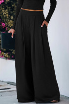 Black White Red Black Grey Pink Polyester Elastic Fly Mid Solid Loose Pants Bottoms